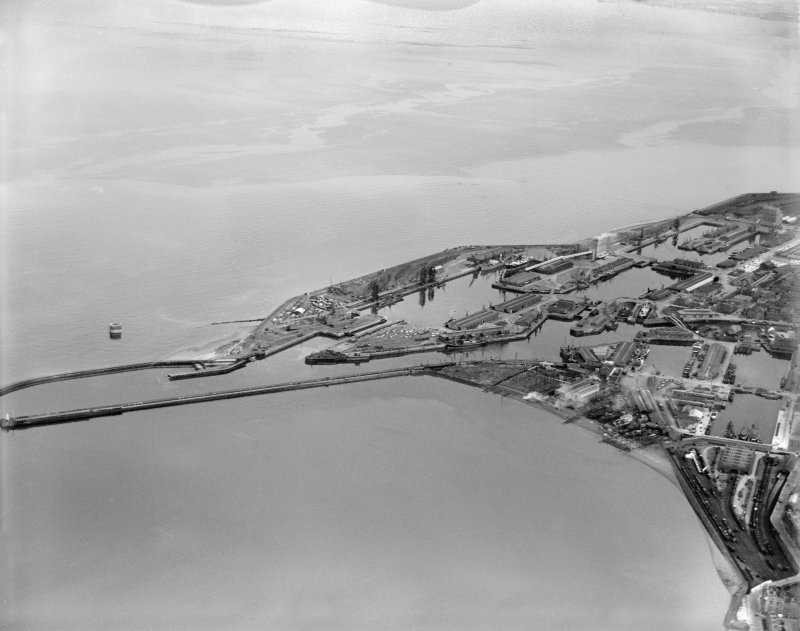 Leith Docks, Edinburgh.  Oblique aerial photograph taken facing east.