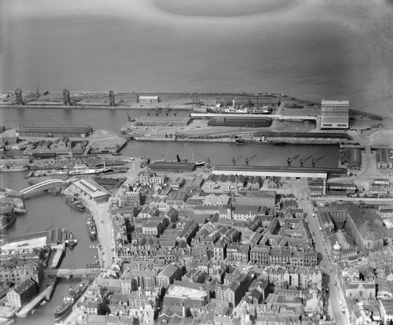 Albert and Imperial Docks, Leith, Edinburgh.  Oblique aerial photograph taken facing north.