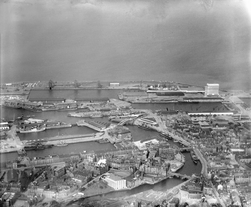 Leith Docks, Edinburgh.  Oblique aerial photograph taken facing north-east.