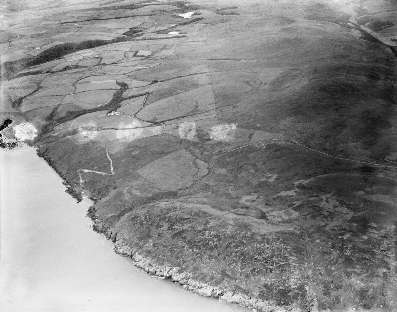 Glenapp Estate, general view, showing Portandea and Glen Drisaig.  Oblique aerial photograph taken facing east.  This image has been produced from a damaged negative.