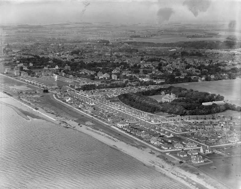 Ayr, general view, showing Seafield Drive and Seafield Hospital.  Oblique aerial photograph taken facing east.