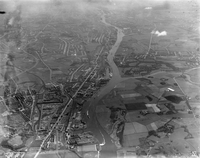 River Clyde, general view, showing Clydebank and Scotstoun.  Oblique aerial photograph taken facing south-east.