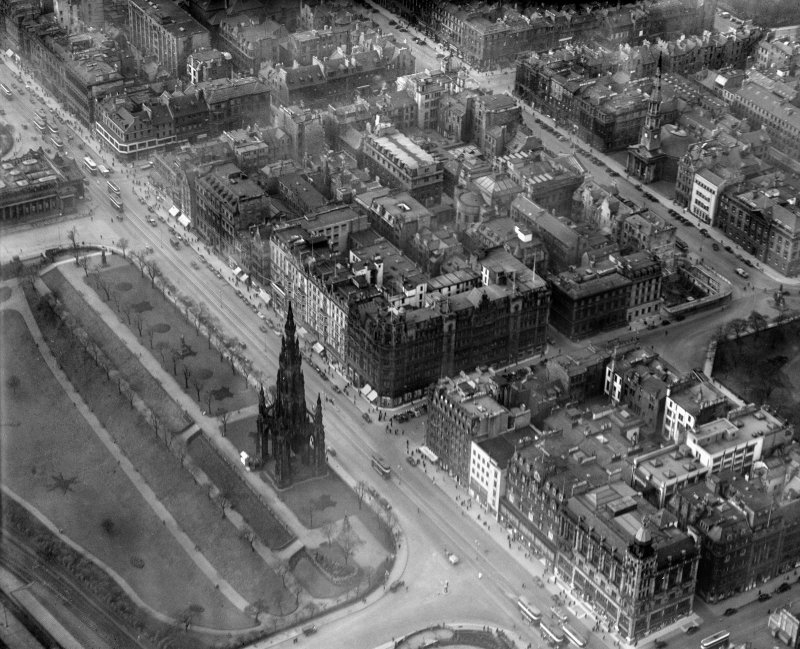 Jenners, Princes Street and Scott Monument, Edinburgh.  Oblique aerial photograph taken facing west.