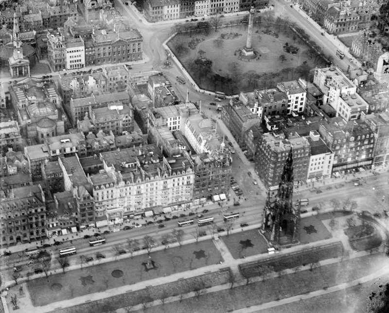 Jenners, Princes Street and St Andrew Square, Edinburgh.  Oblique aerial photograph taken facing north.