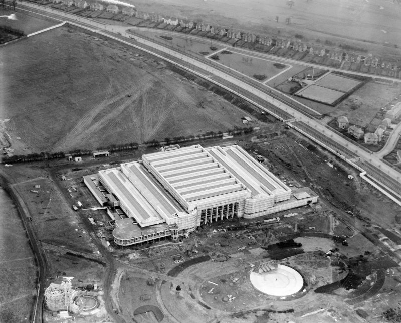 Palace of Engineering, 1938 Empire Exhibition, Bellahouston Park, Glasgow, under construction.  Oblique aerial photograph taken facing south-east.