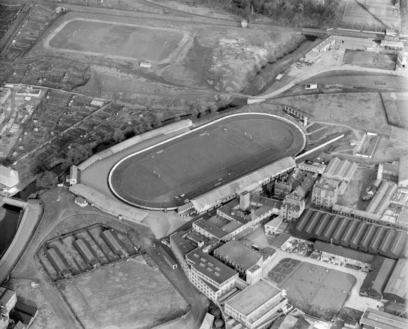 Powderhall Stadium, Powderhall Road, Beaverbank, Edinburgh.  Oblique aerial photograph taken facing north-east.