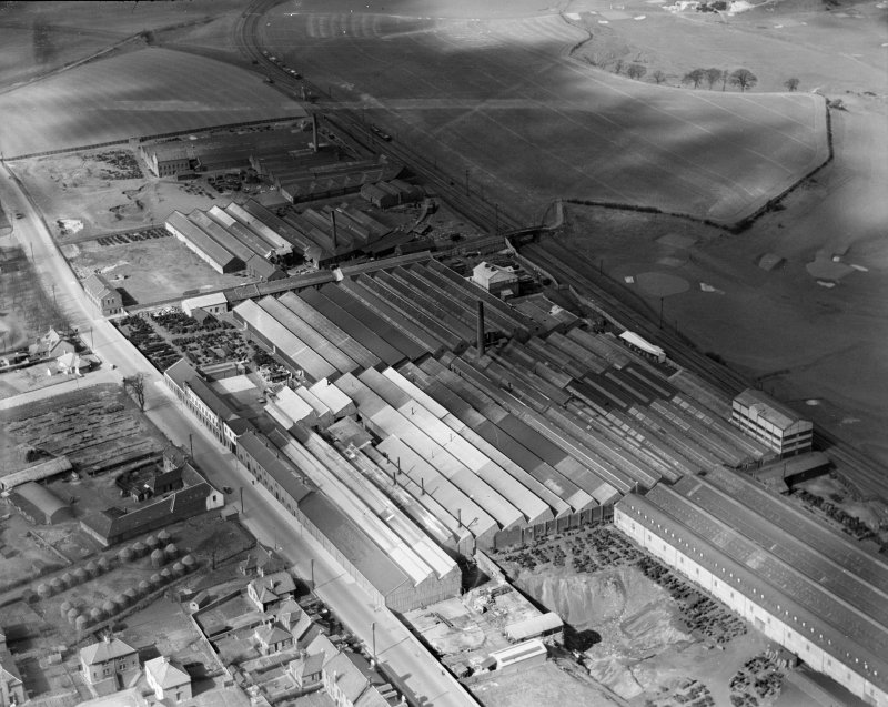 R and A Main Ltd. Gothic Works, Glasgow Road, Camelon, Falkirk.  Oblique aerial photograph taken facing north-west.