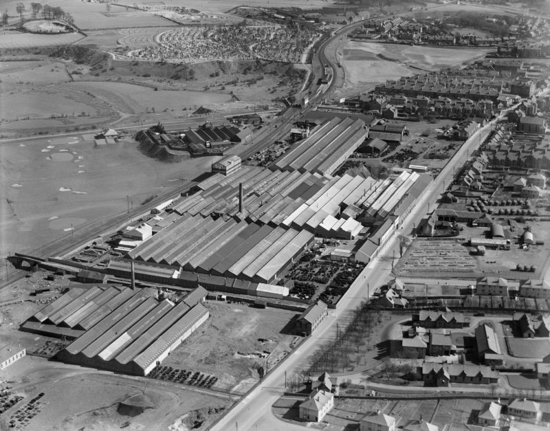 R and A Main Ltd. Gothic Works, Glasgow Road, Camelon, Falkirk.  Oblique aerial photograph taken facing east.