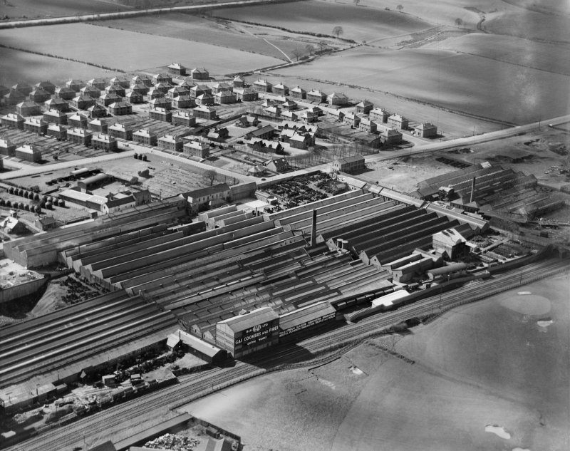 R and A Main Ltd. Gothic Works, Glasgow Road, Camelon, Falkirk.  Oblique aerial photograph taken facing south-west.
