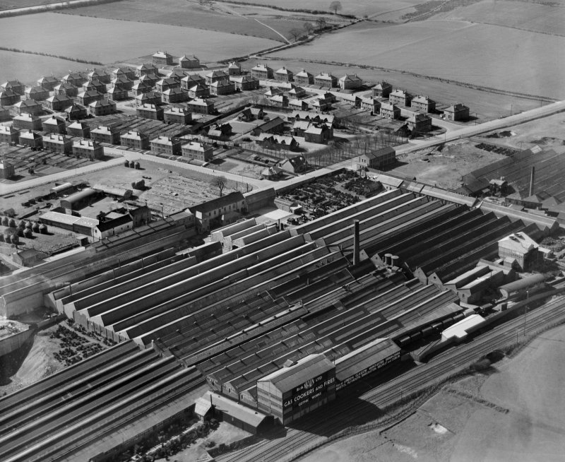 R and A Main Ltd. Gothic Works, Glasgow Road, Camelon, Falkirk.  Oblique aerial photograph taken facing west.