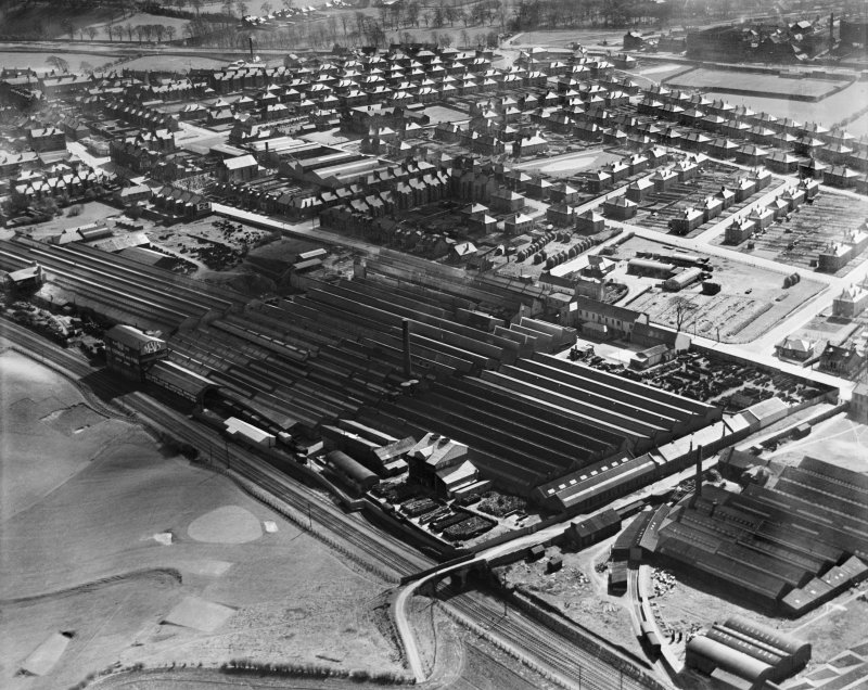 R and A Main Ltd. Gothic Works, Glasgow Road, Camelon, Falkirk.  Oblique aerial photograph taken facing south.