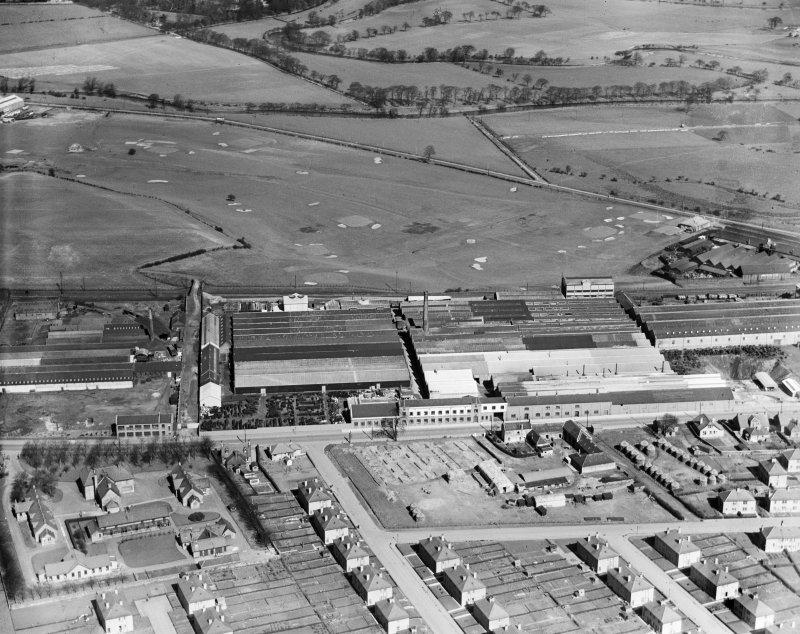 Falkirk Golf Course and R and A Main Ltd. Gothic Works, Glasgow Road, Camelon, Falkirk.  Oblique aerial photograph taken facing north.