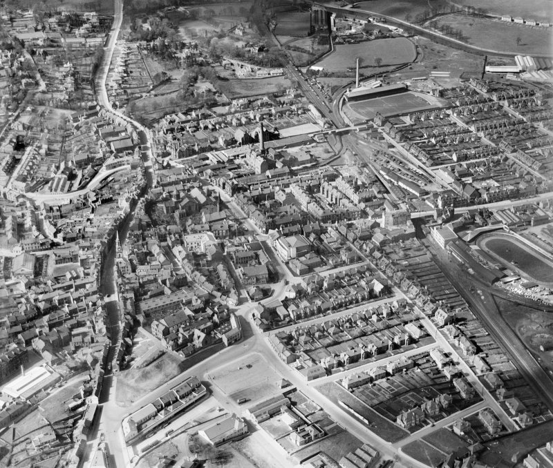 Falkirk, general view, showing High Street and Brockville Football Stadium.  Oblique aerial photograph taken facing north-west.