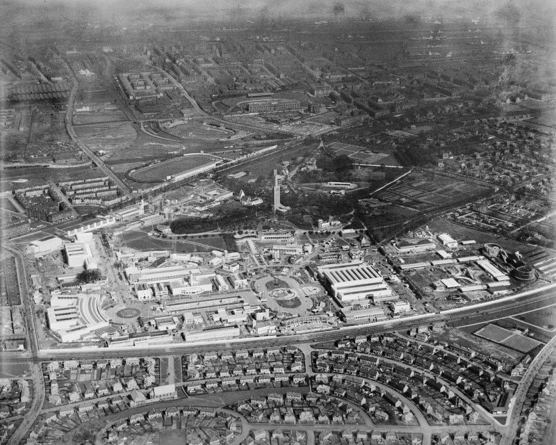 1938 Empire Exhibition, Bellahouston Park, Glasgow, under construction.  Oblique aerial photograph taken facing north.