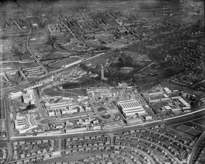 1938 Empire Exhibition, Bellahouston Park, Glasgow, under construction.  Oblique aerial photograph taken facing north-east.