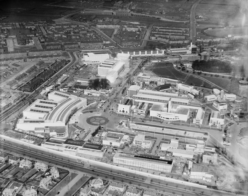 Palaces of Industries and UK Pavillion, 1938 Empire Exhibition, Bellahouston Park, Glasgow, under construction.  Oblique aerial photograph taken facing north.