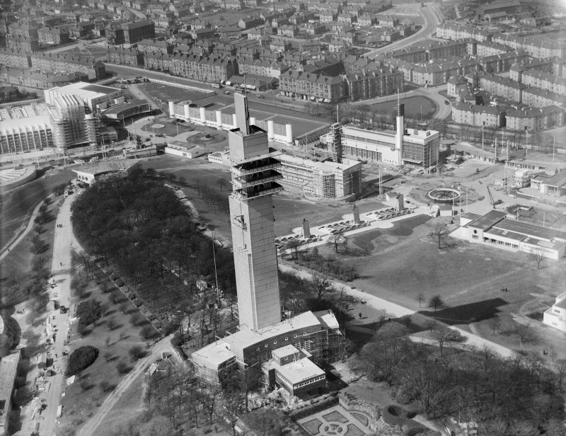 Tower of Empire, 1938 Empire Exhibition, Bellahouston Park, Glasgow, under construction.  Oblique aerial photograph taken facing north-west.