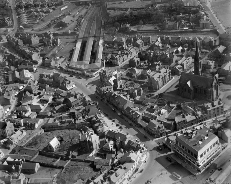Largs, general view, showing Main Street and Largs Station.  Oblique aerial photograph taken facing south.