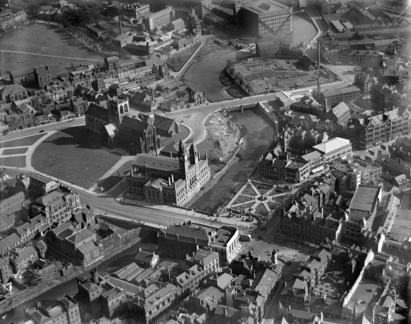 Paisley Abbey and George A Clark Town Hall, Gauze Street, Paisley.  Oblique aerial photograph taken facing south-east.