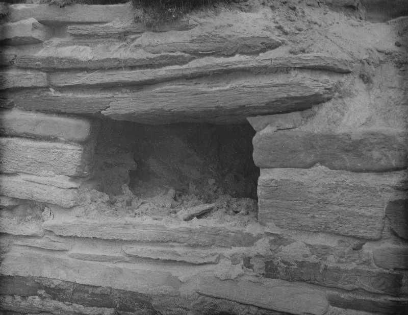 Excavation photograph: House 1, wall recess in N. wall.