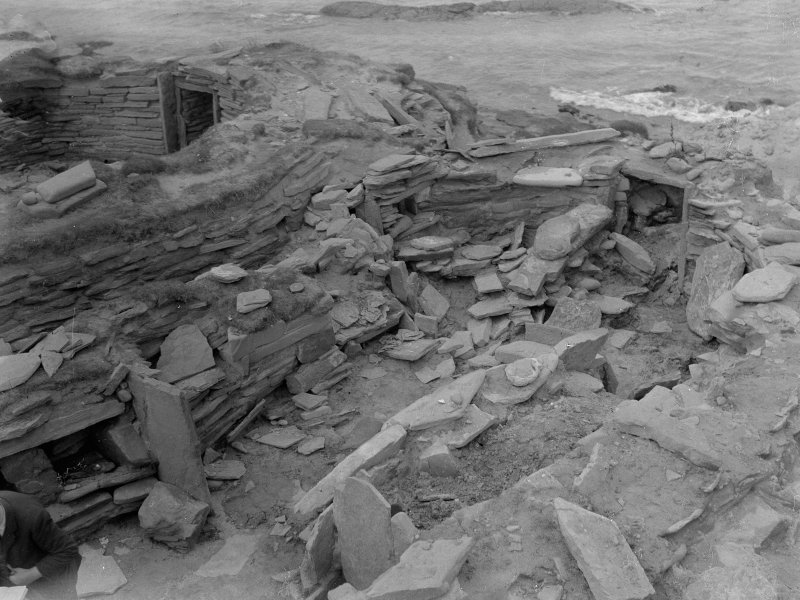 Excavation photograph: House 2, showing both main entrance and passage entrance. House 1 beyond. Copy negative 1995. Original print in Print Room.