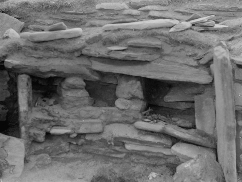 Excavation photograph: House 2, Detail of wall recesses in S. E. corner. Copy negative 1995. Original print in Print Room.