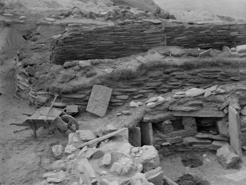 Excavation photograph: General view from N of both houses.