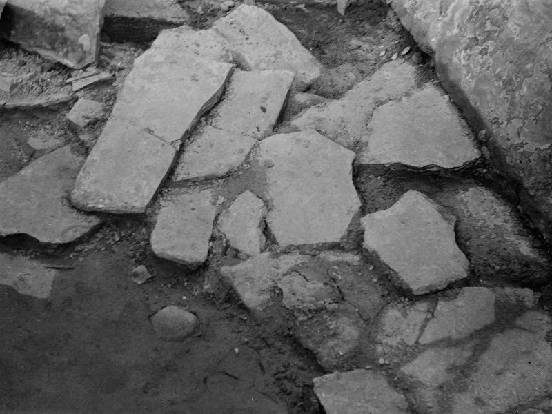 Excavation photograph: Paving in either house.