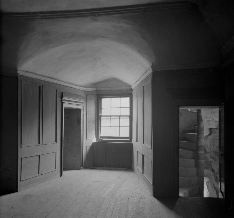 Interior view of window and recess and door to turnpike, second floor, Neidpath Castle.