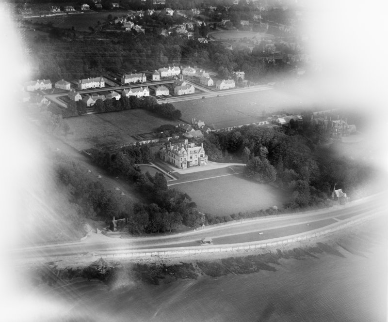 Cairndhu House, Rhu Road Lower, Helensburgh.  Oblique aerial photograph taken facing north-east.