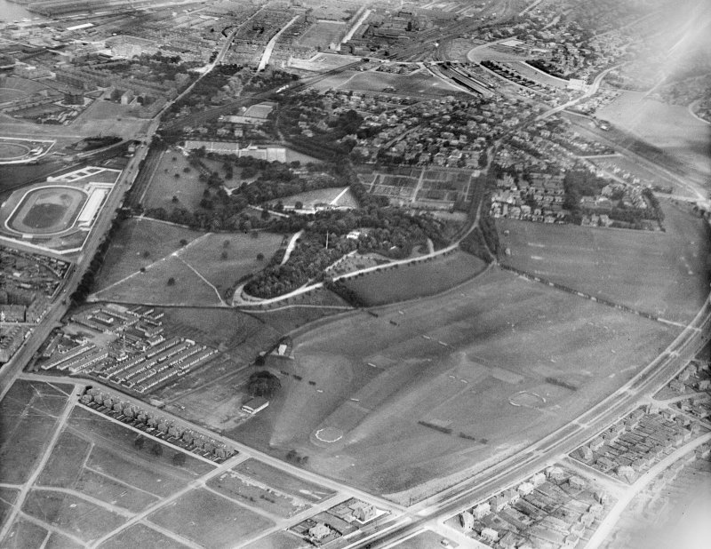 Glasgow, general view, showing Bellahouston Park.  Oblique aerial photograph taken facing east.