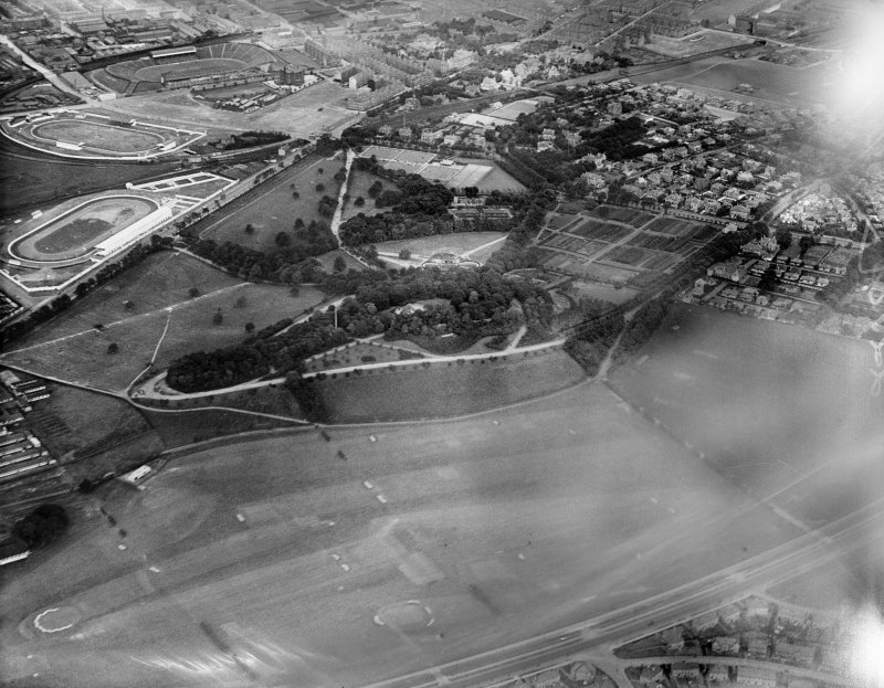 Glasgow, general view, showing Bellahouston Park, White City Sports Ground, Albion Greyhound Racecourse and Ibrox Stadium.  Oblique aerial photograph taken facing north.