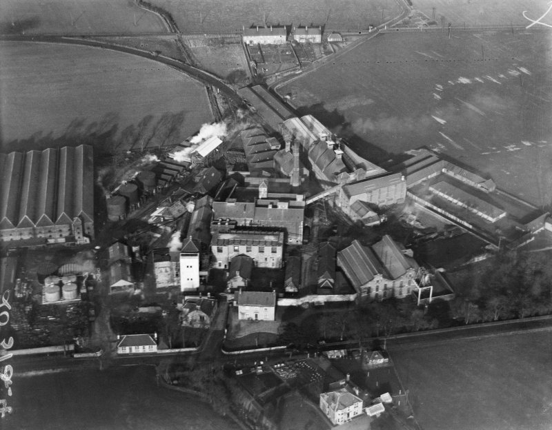 Glenochil Distillery, Menstrie.  Oblique aerial photograph taken facing north.