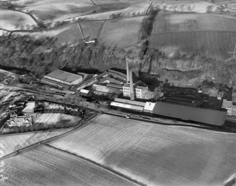 Carrongrove Paper Mills, Dunipace.  Oblique aerial photograph taken facing north.