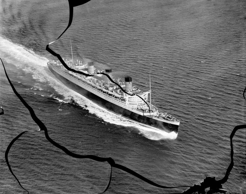 Queen Mary, Firth of Clyde.  Speed trials.  Oblique aerial photograph.  This image has been produced from a damaged negative.