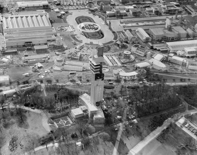 Tower of Empire and Palace of Engineering, 1938 Empire Exhibition, Bellahouston Park, Glasgow, under construction.  Oblique aerial photograph taken facing south-west.