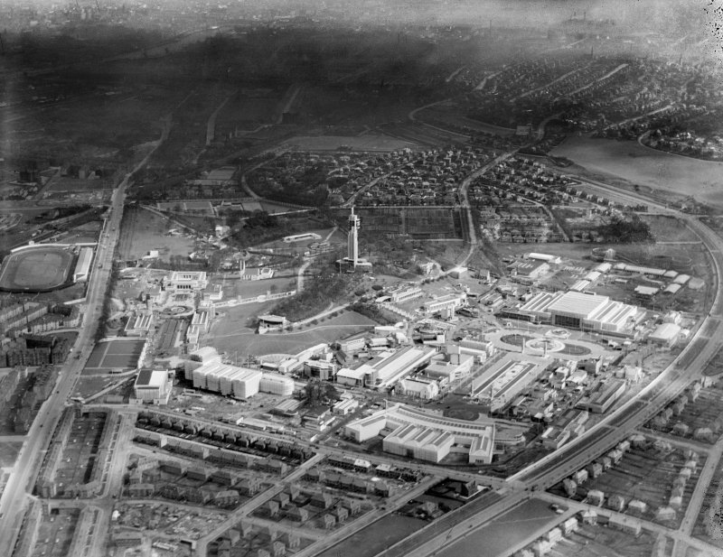 1938 Empire Exhibition, Bellahouston Park, Glasgow, under construction.  Oblique aerial photograph taken facing east.