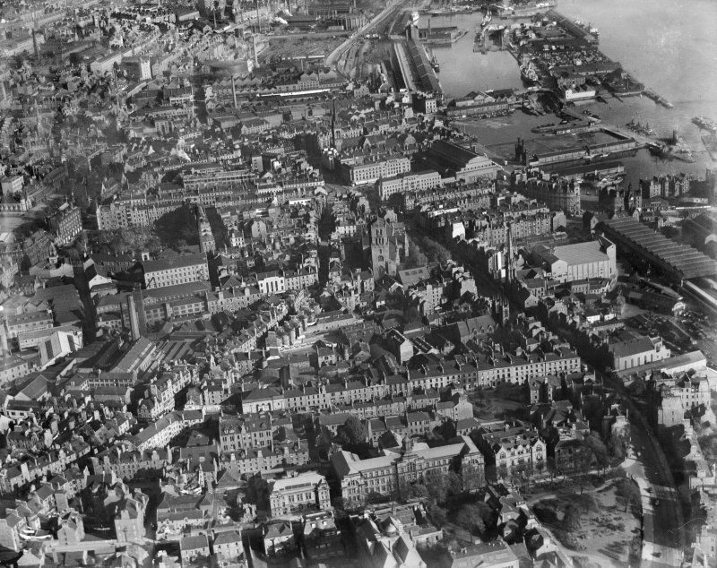 Dundee, general view, showing Dundee Harbour and Steeple Church, Nethergate.  Oblique aerial photograph taken facing east.