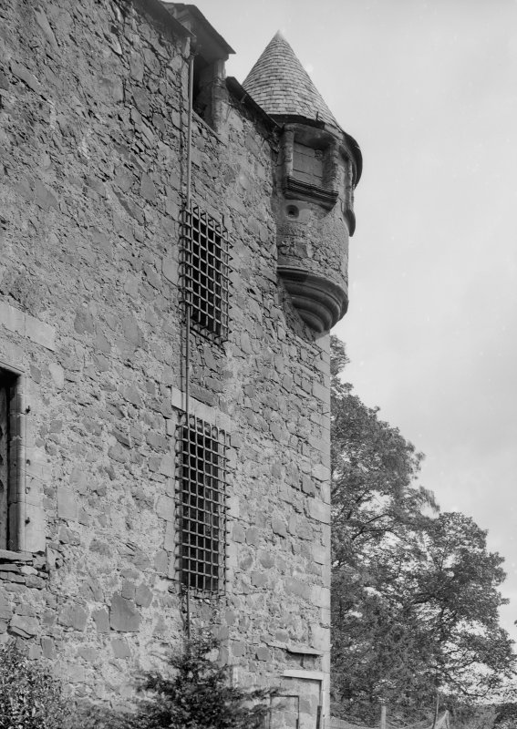 Elcho Castle.General view of window and turret in South-East corner.