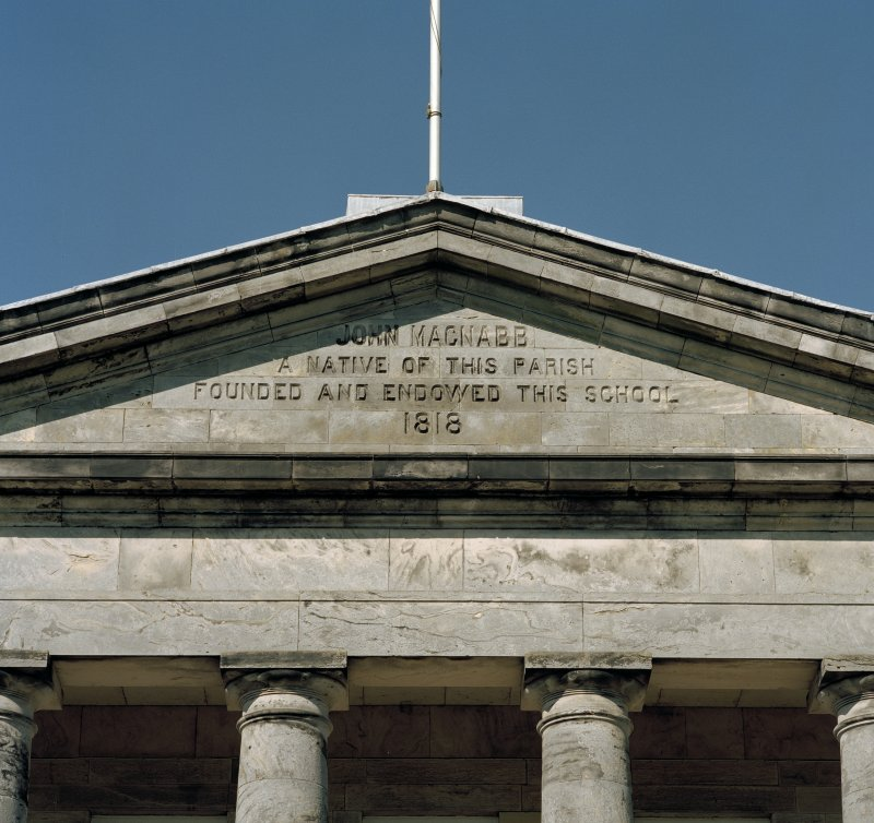 Detail of incription on pediment of portico.
