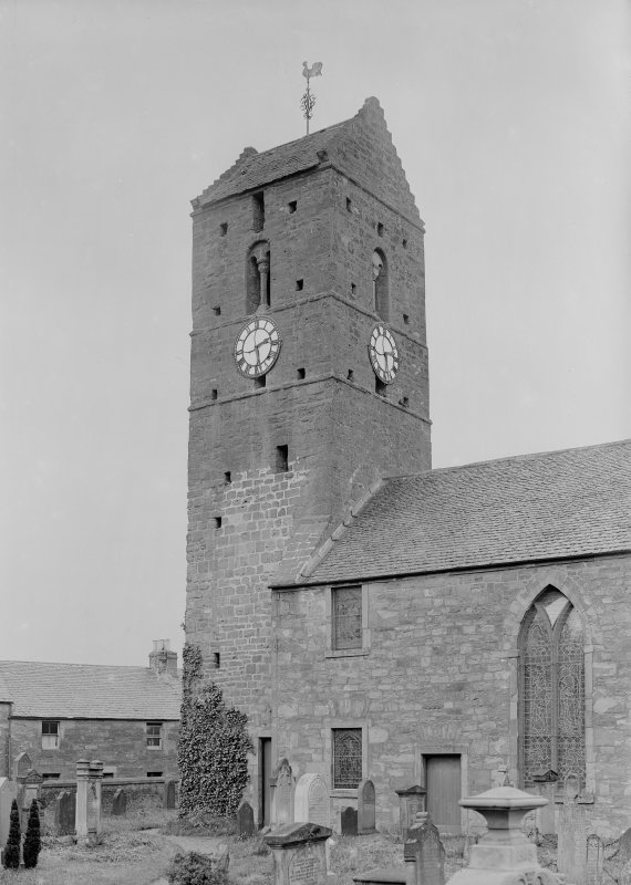 View of tower, St. Serf's Parish Church, Dunning, from South-East.