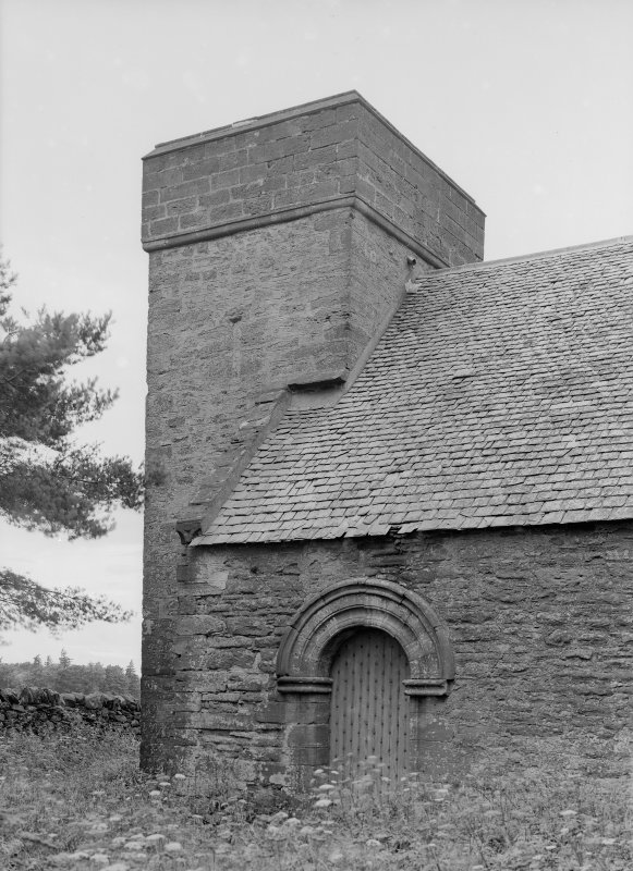 General view of tower and doorway.