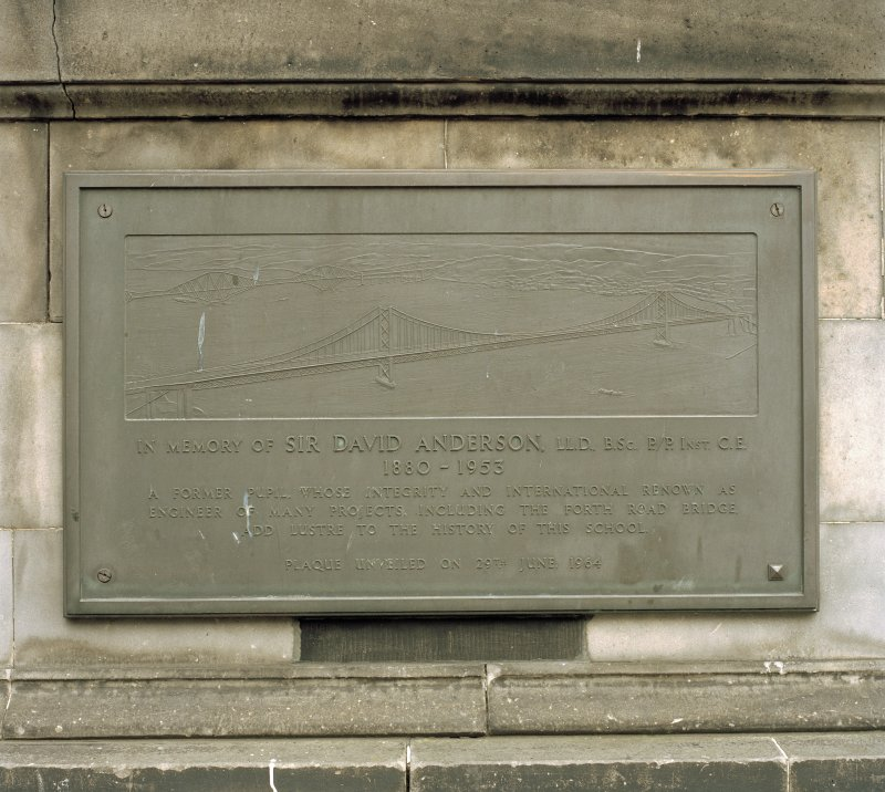 Detail of plaque to Sir David Anderson on west face of main block