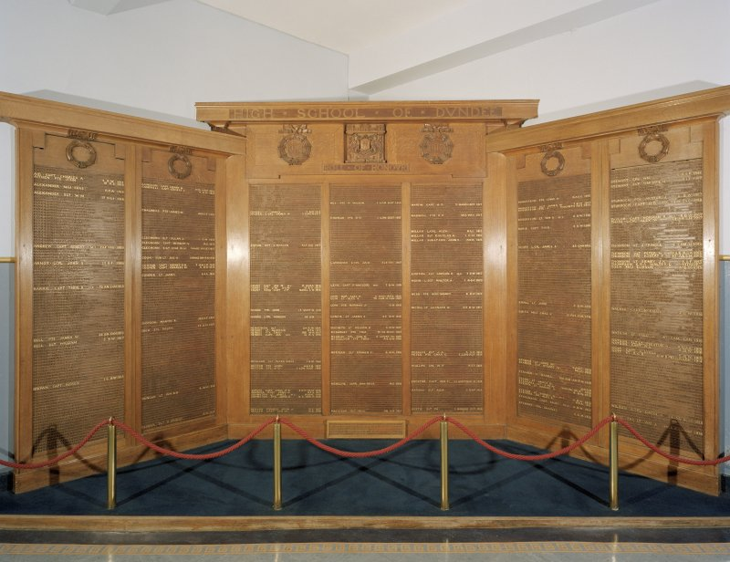 Entrance hall, view of war memorial