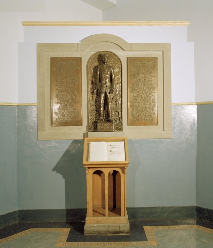 Entrance hall, view of 1939-45 war memorial and book of remembrance
