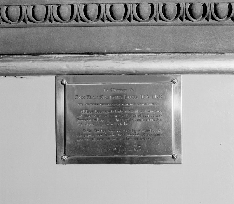 Entrance hall, detail of commemorative plaque to Rev. Richard Low