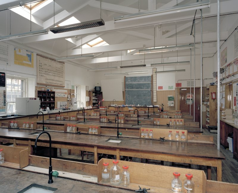 Main block, 1st. floor, view of science laboratory (room 65) from west
