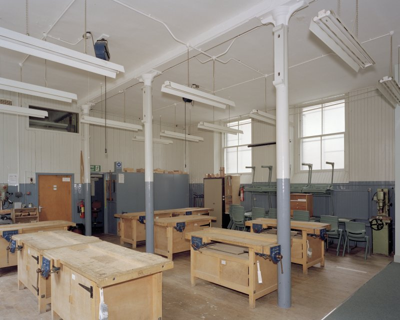 Technical block and gymnasium, ground floor, woodwork room, view from south
