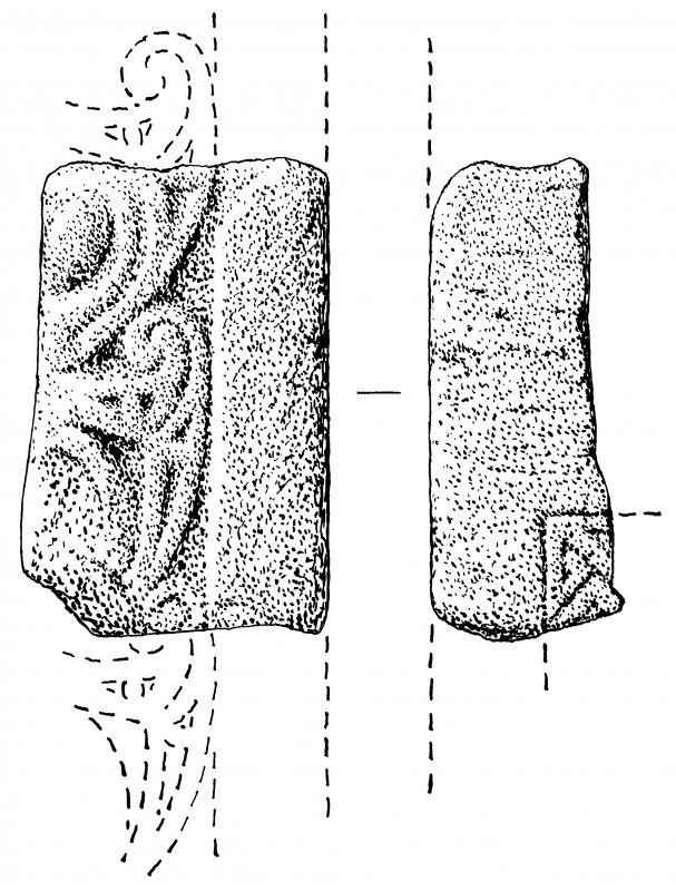 Measured drawing of sculptured stone fragment, Tarbat, Tr 032