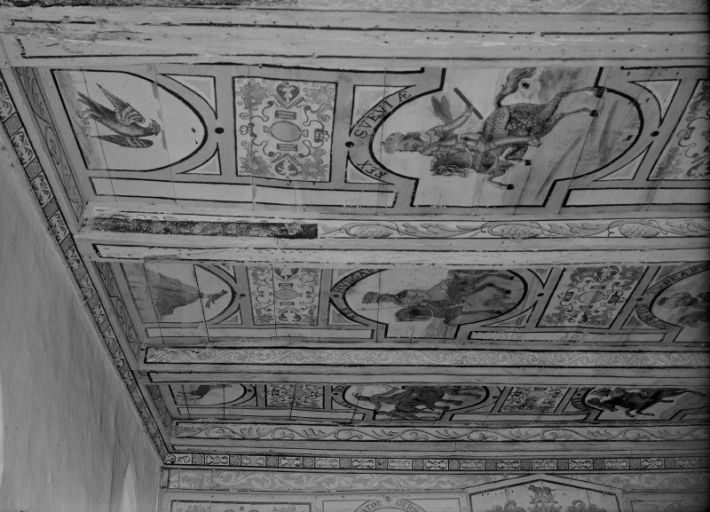 Interior. Detail of painted ceiling.